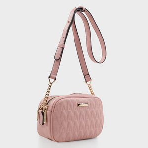 Izzy and Ali Vegan Leather Handbags - Amelie Quilted Camera in blush