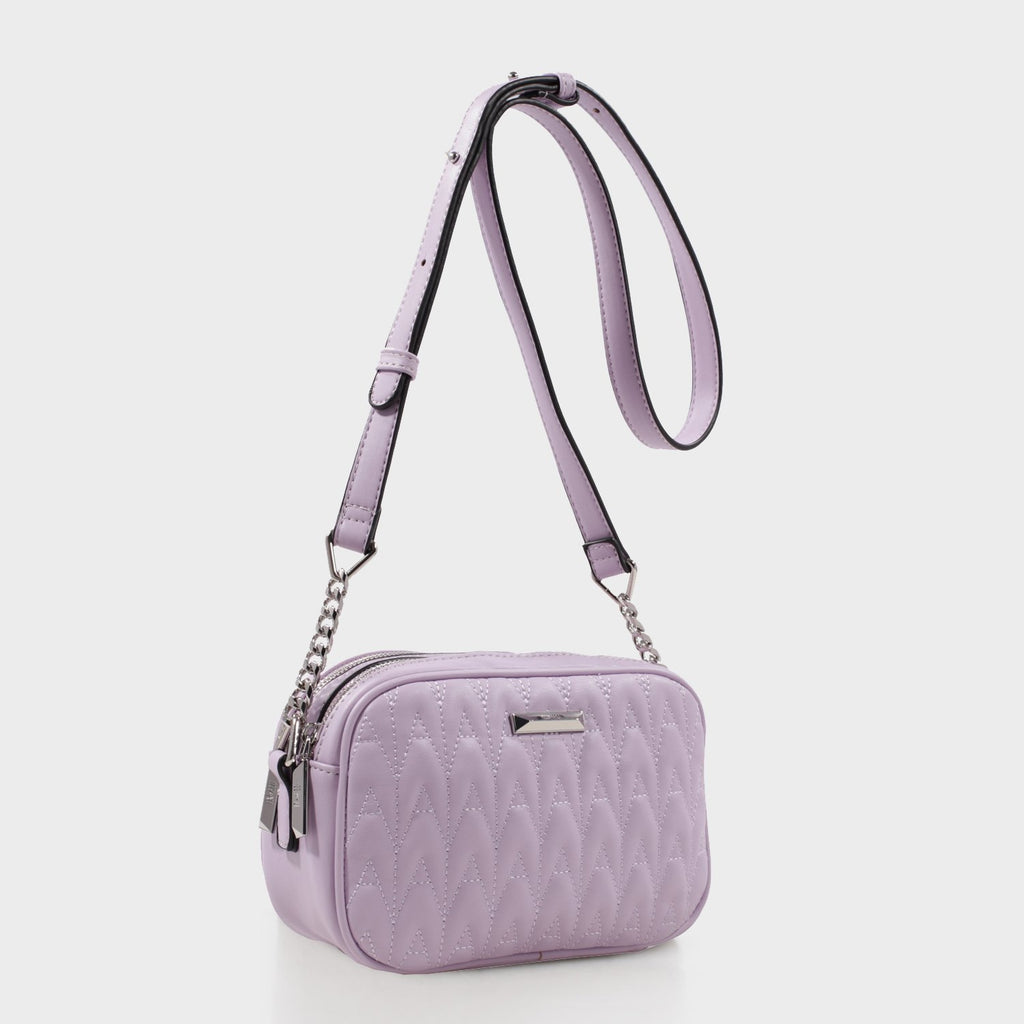Izzy and Ali Vegan Leather Handbags - Amelie Quilted Camera in lilac