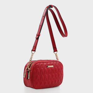 Izzy and Ali Vegan Leather Handbags - Amelie Quilted Camera in red