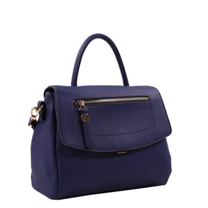 Izzy and Ali Vegan Leather Handbags - Chic Satchel Navy