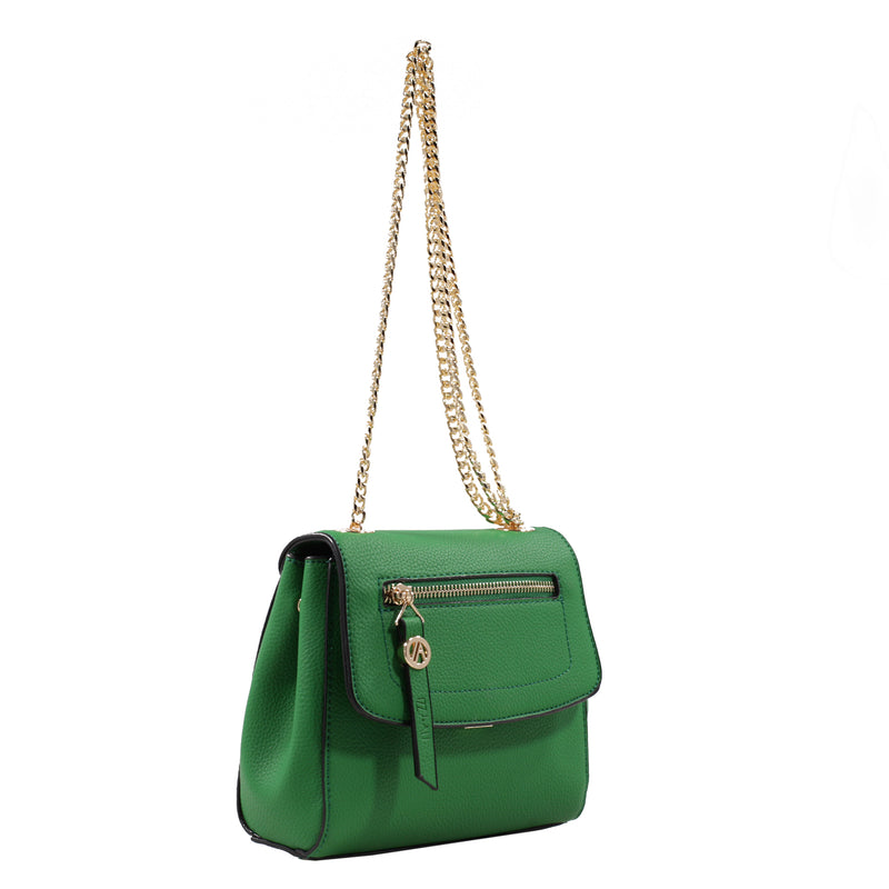 Izzy and Ali Vegan Leather Handbags - Mini Satchel with Chain Green