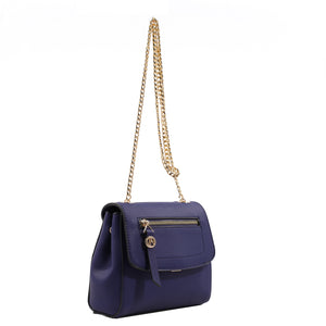 Izzy and Ali Vegan Leather Handbags - Mini Satchel with Chain Navy