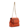 Izzy and Ali Vegan Leather Handbags - Mini Satchel with Chain Orange