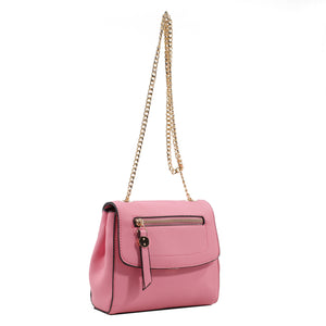 Izzy and Ali Vegan Leather Handbags - Mini Satchel with Chain Pink
