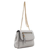 Izzy and Ali Vegan Leather Handbags - Mini Satchel with Chain Silver