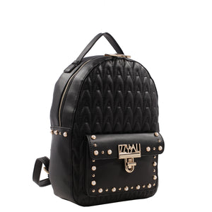 Izzy and Ali Vegan Leather Handbags - Signature Quilted Daypack Black