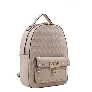 Izzy and Ali Vegan Leather Handbags - Signature Quilted Daypack Stone