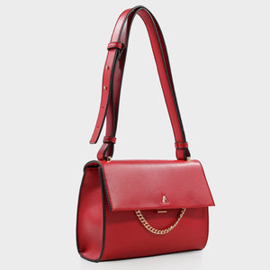 Izzy and Ali Vegan Leather Handbags - Caramel Shoulder in red