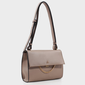 Izzy and Ali Vegan Leather Handbags - Caramel Shoulder in taupe