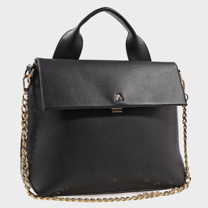 Izzy and Ali Vegan Leather Handbags - Caramel Satchel in black