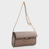 Izzy and Ali Vegan Leather Handbags - Caramel Clutch in taupe