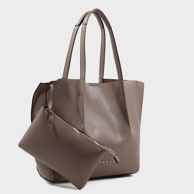 Izzy and Ali Vegan Leather Handbags - Catskill Tote in taupe