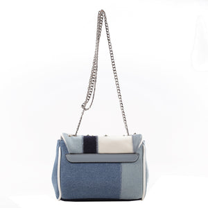 Izzy and Ali Vegan Leather Handbags - Denim Patchwork Satchel