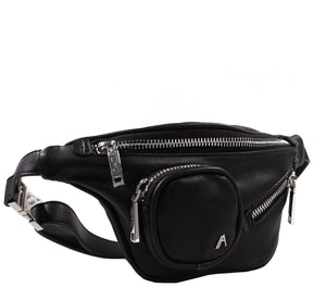 Izzy and Ali Vegan Leather Handbags - Chic Fanny Black
