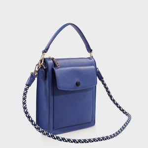 Izzy and Ali Vegan Leather Handbags - Courtney Shoulder in blue