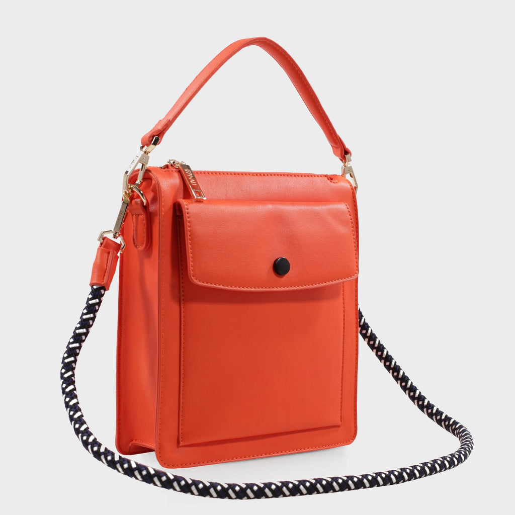 Izzy and Ali Vegan Leather Handbags - Courtney Shoulder in orange