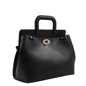 Izzy and Ali Vegan Leather Handbags - Classic Satchel Dark Navy
