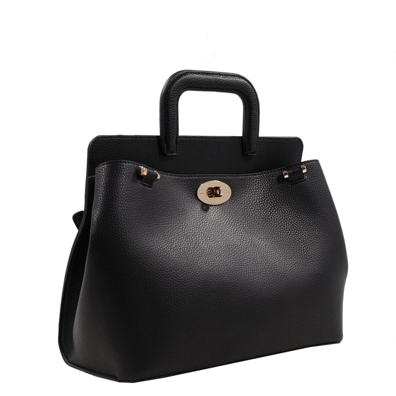 Izzy and Ali Vegan Leather Handbags - Classic Satchel Black