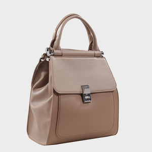 Izzy and Ali Vegan Leather Handbags - Cass Satchel Taupe