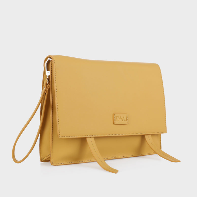 Izzy and Ali Vegan Leather Handbags - Dimitri Clutch in mustard