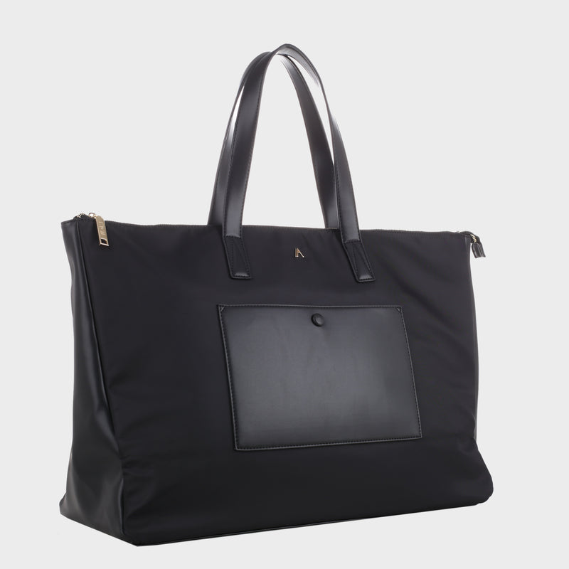 Izzy and Ali Vegan Leather Handbags - Weekender Carryall Tote Black