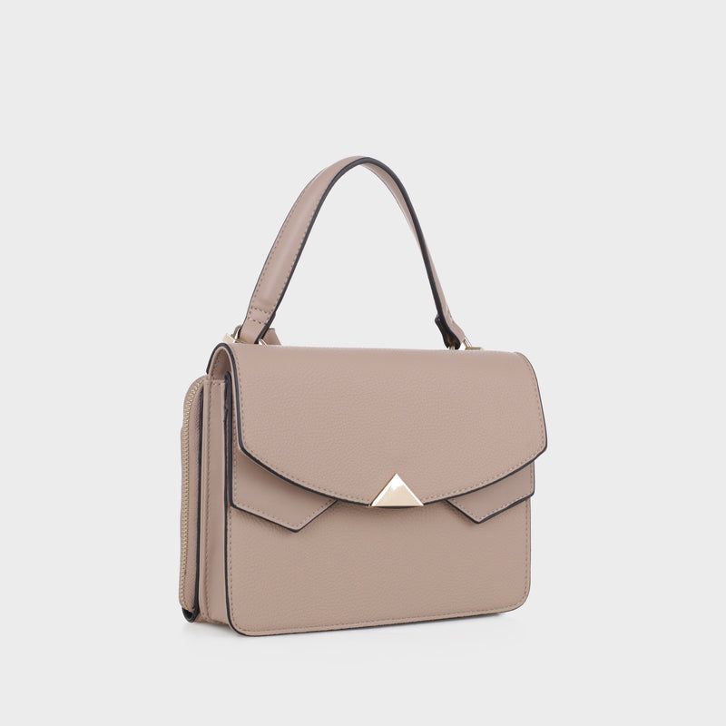 Izzy and Ali Vegan Leather Handbags - Venice Crossbody in taupe