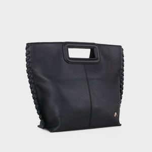Izzy and Ali Vegan Leather Handbags - Pisa Clutch in black