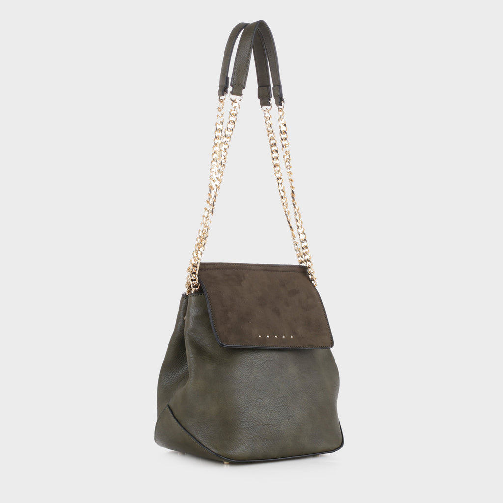 Izzy and Ali Vegan Leather Handbags - Carly Shoulder in olive