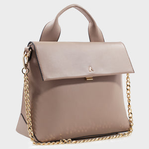 Izzy and Ali Vegan Leather Handbags - Caramel Satchel in taupe