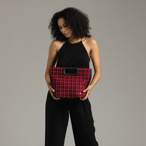 Izzy and Ali Vegan Leather Handbags - Pisa Plaid Clutch Editorial
