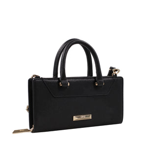 Izzy and Ali Vegan Leather Handbags - Chic Wallet Clutch Black