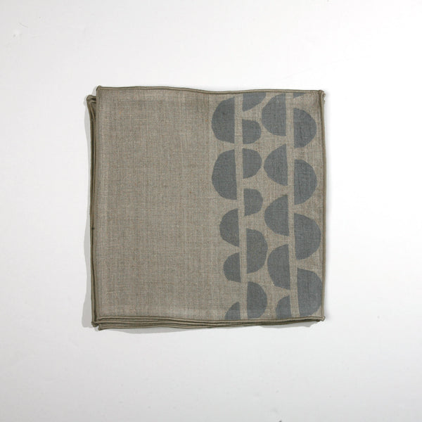 'Half Moons' Block Printed Cocktail Napkins in Gray Colorway