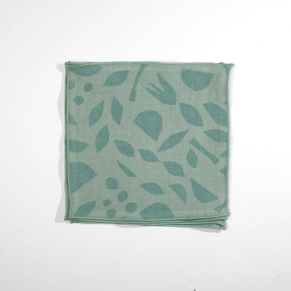 'Mini Decon Floral' Cocktail Napkins in Seaglass colorway