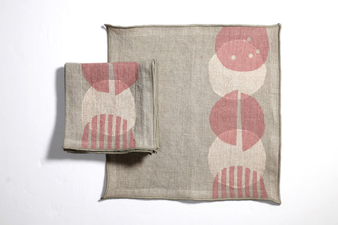 'Pods' Block Printed Cocktail Napkins in Sandstone colorway