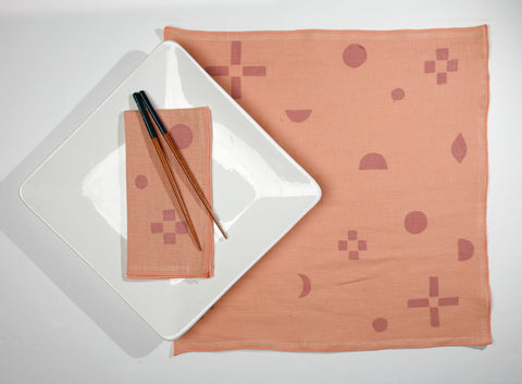 'Constellation' Block Printed Linen Dinner Napkins in Melon colorway