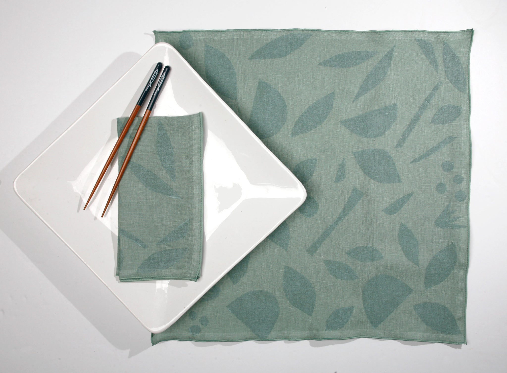 'Decon Floral' Block Printed Linen Dinner Napkins in Seaglass colorway