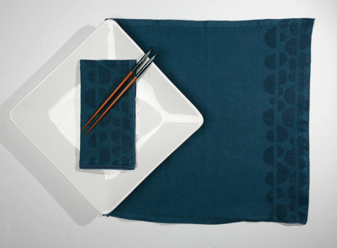 'Half Moons' Block Printed Linen Dinner Napkins in Blues colorway