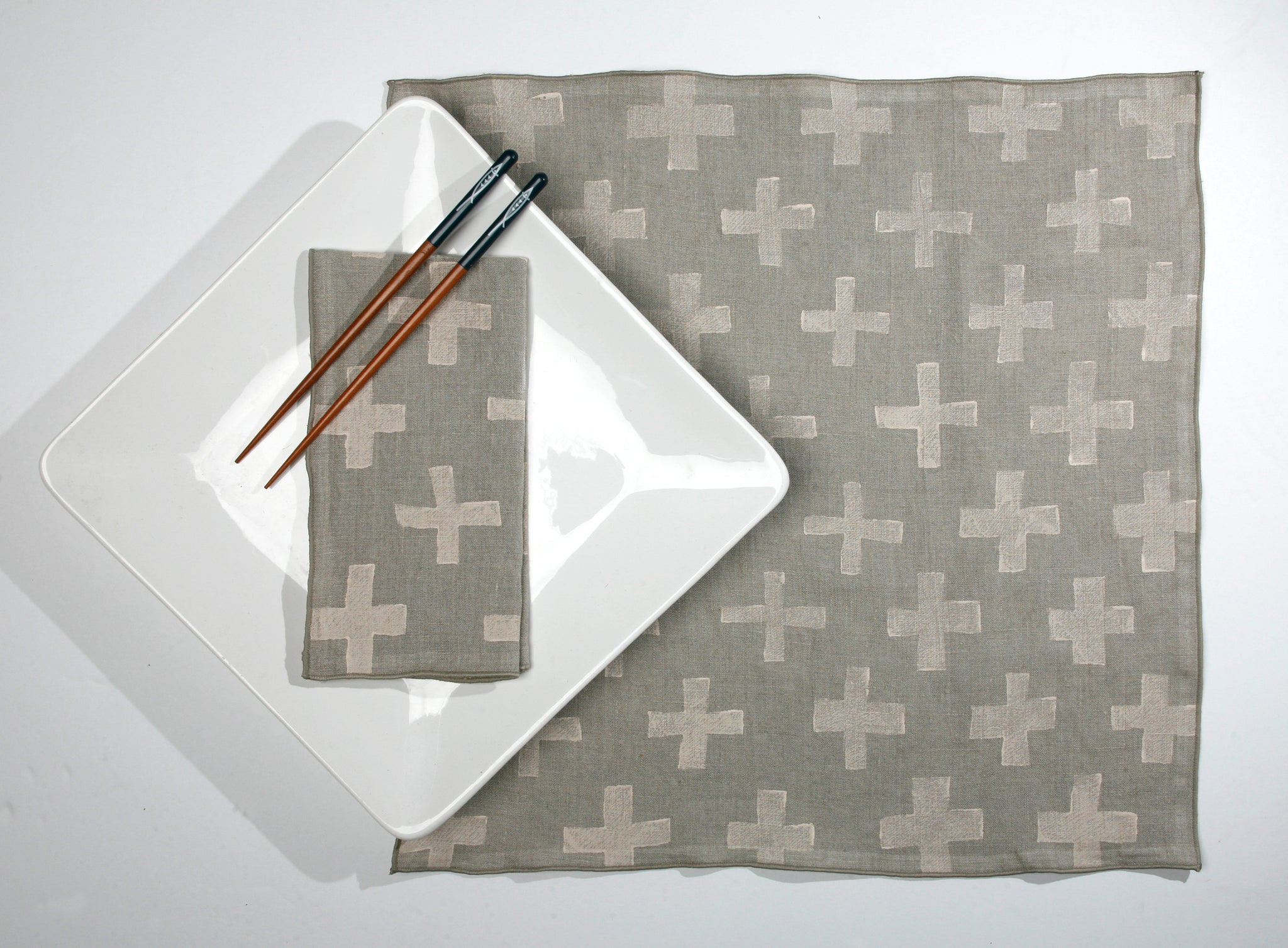 'Plus' Block Printed Linen Dinner Napkins in Cream colorway
