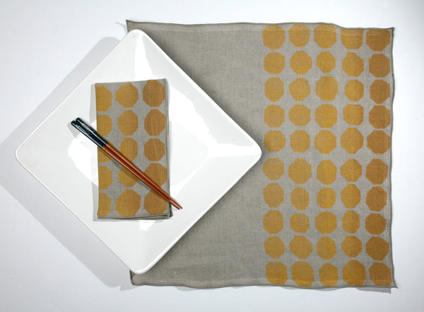 'Signals' Block Printed Linen Dinner Napkins in Maize/Ochre colorway
