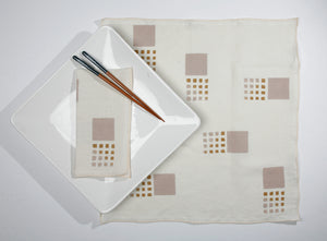 'Tiles' Block Printed Linen Dinner Napkins in Summer colorway