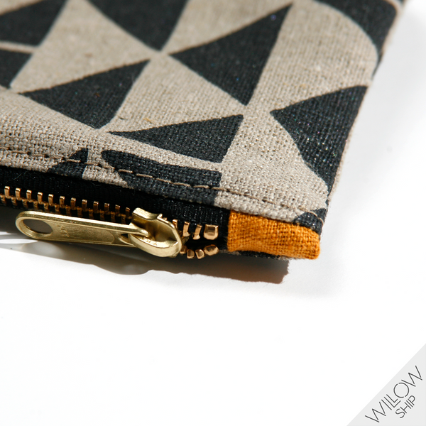 'Flying Geese' Block Printed Linen Zipper Pouch