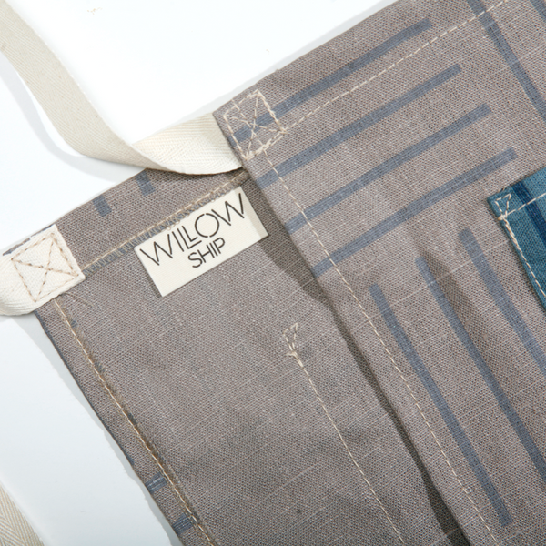 'Hatch' Block Printed Linen Cafe Apron