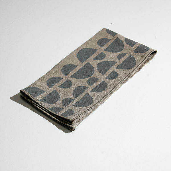 'Half Moons' Block Printed Linen Dinner Napkins in Gray colorway
