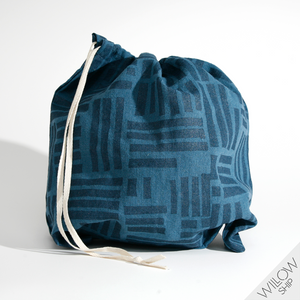 'Maze' Block Printed Linen Project Bag in Blues colorway