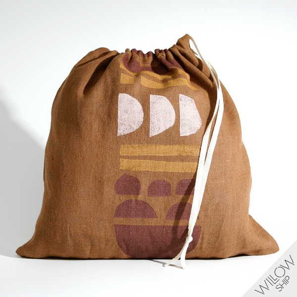 'Totem' Block Printed Linen Project Bag