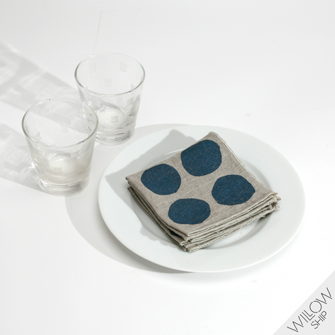 'Spotty' Block Printed Natural Linen Cocktail Napkins in Indigo colorway