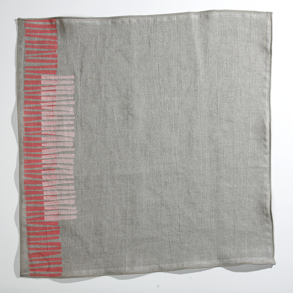 'Twigs' Block Printed Linen Dinner Napkins in Living Coral/Petal on Natural Linen