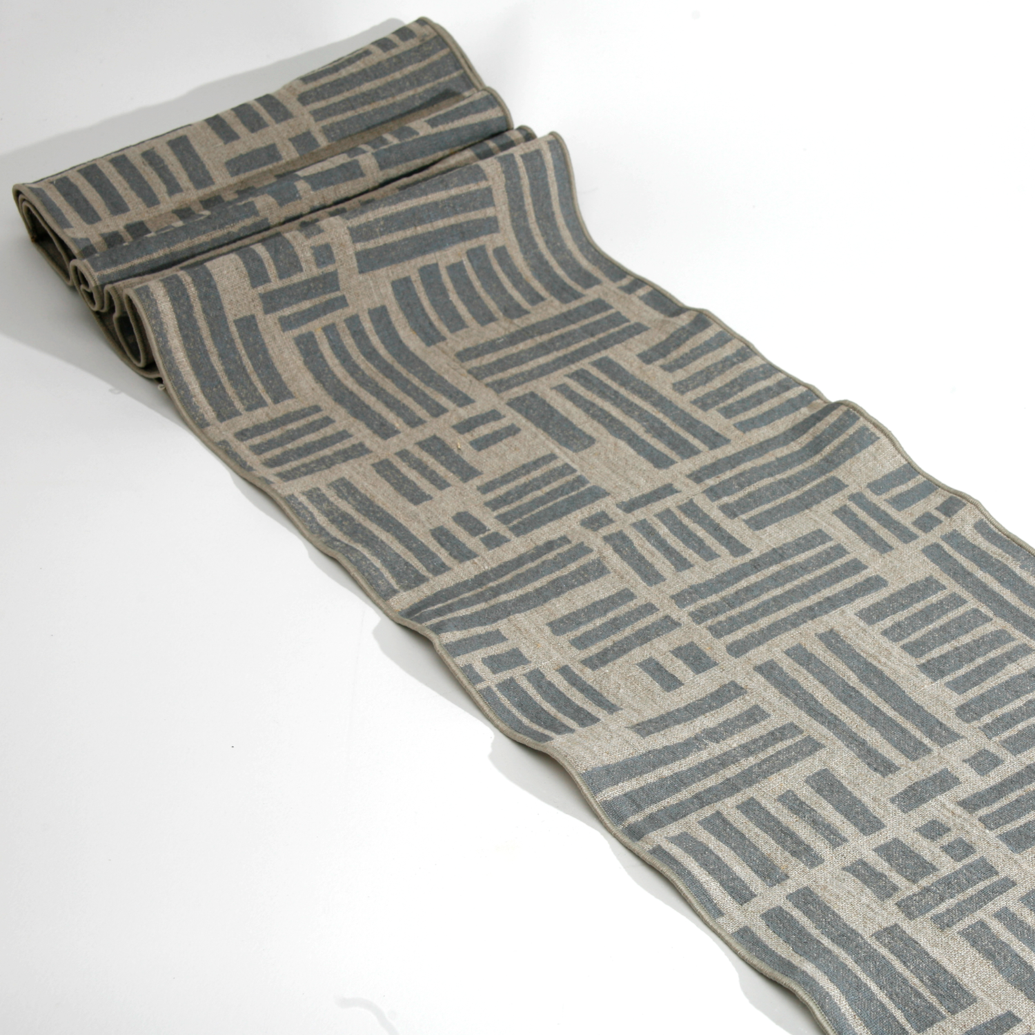 'Maze' Block Printed Linen Table Runner in Grey on Natural Linen