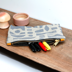 'Mixta' Block Printed Linen Zipper Pouch
