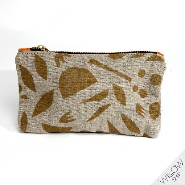 'Mini Decon Floral' Block Printed Natural Linen Zipper Pouch